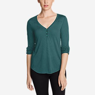 Women's Mercer Knit Henley Shirt - Stripe in Green