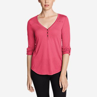 Women's Mercer Knit Henley Shirt - Stripe in Red