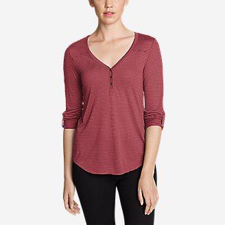 Women's Mercer Knit Henley Shirt - Stripe in Red