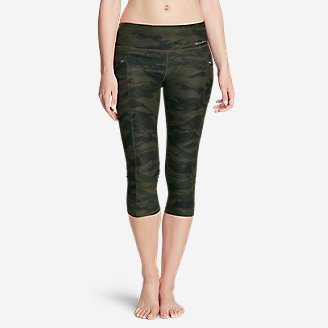 Women's Trail Tight Capris - Print in Green