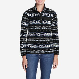 Women's Quest Fleece Snap-Neck Pullover - Printed in Black