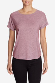 Women's Mercer Knit Roll-Sleeve Bateau T-Shirt - Solid in Red