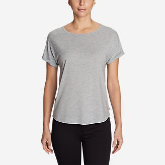 Women's Mercer Knit Roll-Sleeve Bateau T-Shirt - Solid in Gray