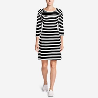 Women's Aster 3/4-Sleeve Boat Neck Dress - Stripe in Black