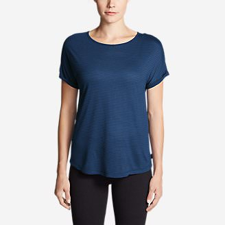 Women's Mercer Knit Roll-Sleeve Bateau T-Shirt - Stripe in Blue