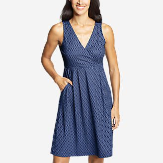Women's Aster Crossover Dress - Print in Blue