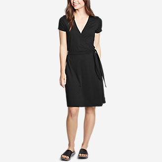 Women's Aster Short-Sleeve Wrap Dress in Black