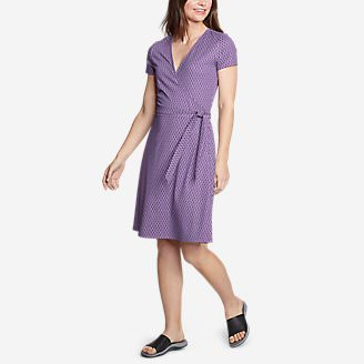 Women's Aster Short-Sleeve Wrap Dress in Purple