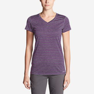 Women's Resolution V-Neck Shirt - Striped in Purple