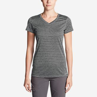 Women's Resolution V-Neck Shirt - Striped in Gray