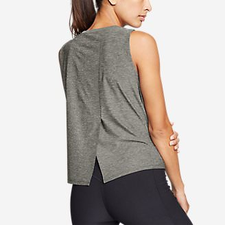 Women's Infinity Split-Back Muscle T-Shirt in Green