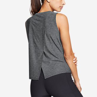Women's Infinity Split-Back Tank Top in Gray