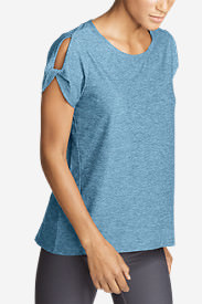 Women's Infinity Short-Sleeve Twist Sleeve Top in Blue