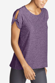Women's Infinity Short-Sleeve Twist Sleeve Top in Purple