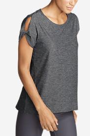 Women's Infinity Short-Sleeve Twist Sleeve Top in Gray