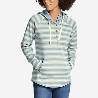 Women's Radiator Fleece Pullover - Stripe in Blue