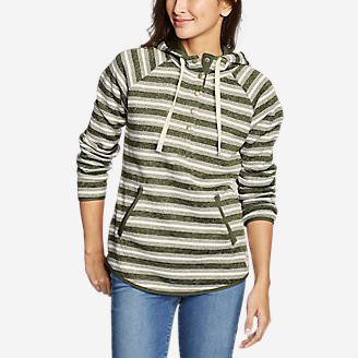 Women's Radiator Fleece Pullover - Stripe in Green
