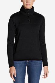 Women's Radiator Fleece Snap Mock-Neck Pullover in Black