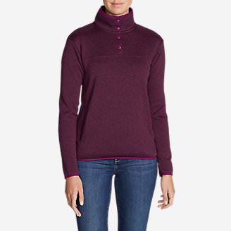 Women's Radiator Fleece Snap Mock-Neck Pullover in Purple