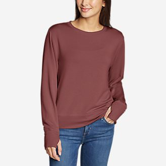 Women's Enliven Ultrasoft Long-Sleeve Sweatshirt in Red