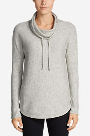 Women's Funnel-Neck Pullover Sleep Sweater in Gray