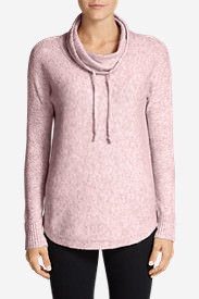 Women's Funnel-Neck Pullover Sleep Sweater in Pink