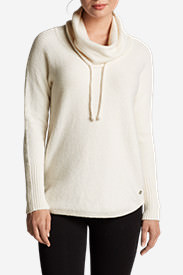 Women's Funnel-Neck Pullover Sleep Sweater in Beige