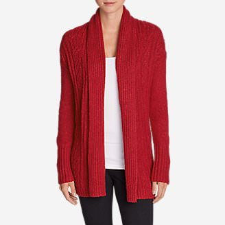 Women's Cable Sleep Cardigan in Red