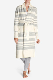 Women's Long Sleep Cardigan - Stripe in Beige