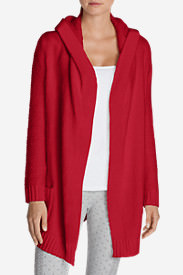 Women's Sleep Sweater Hooded Cardigan in Red