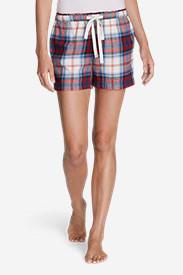 Women's Flannel Sleep Shorts in Blue