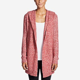 Women's Hooded Sleep Cardigan in Red