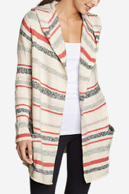 Women's Hooded Sleep Cardigan - Stripe in White
