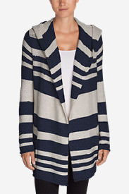 Women's Hooded Sleep Cardigan - Stripe in Blue