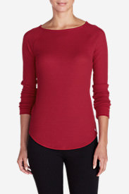 Women's Stine's Favorite Waffle Crew - Solid in Red