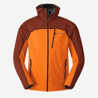 Men's Sandstone Soft Shell Hooded Jacket in Brown