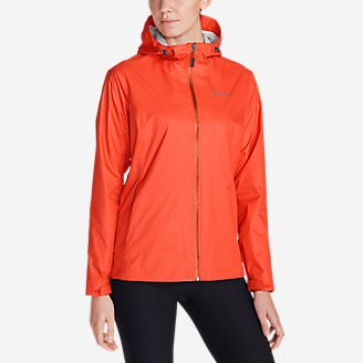 Women's Cloud Cap Lightweight Rain Jacket in Orange