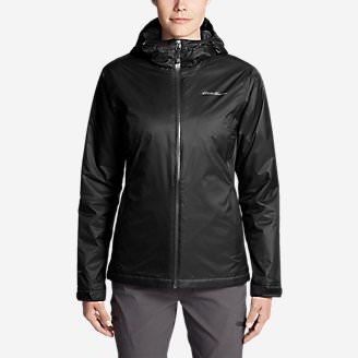 Women's Cloud Cap Insulated Rain Jacket in Black
