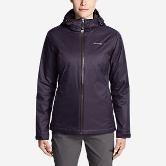 Women's Cloud Cap Insulated Rain Jacket in Purple