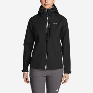Women's Cloud Cap Stretch Rain Jacket in Black