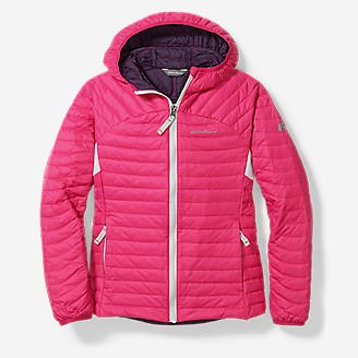 Girls' MicroTherm Hooded Jacket in Red