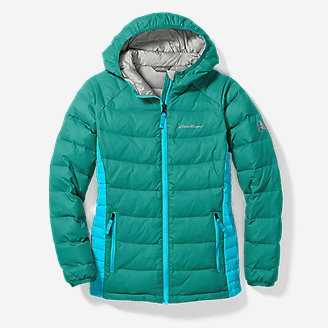 Girls' Downlight Hooded Jacket in Green
