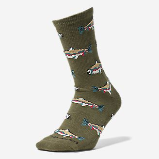 Men's CoolMax Trail Crew Socks - Pattern in Green