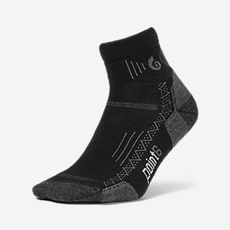 Point6 Active Extra Light Mini Crew Socks in Black