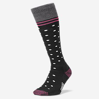 Point6 Patterned Ski Socks - Medium in Black
