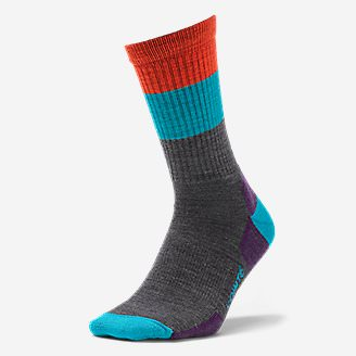 Point6 Light Hiking Crew Socks - Stripe in Gray