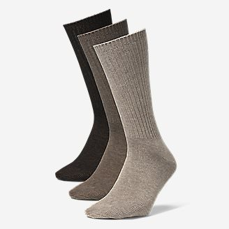 Men's Solid Crew Socks - 3 Pack in Brown