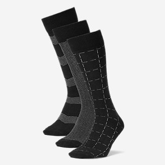 Men's Pattern Crew Socks - 3 Pack in Black