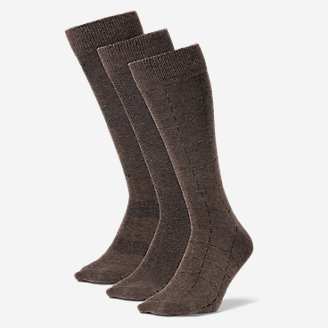 Men's Pattern Crew Socks - 3 Pack in Brown