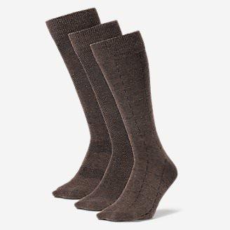 Men's Pattern Crew Socks - 3 Pack in Brown